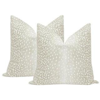 Cashmere Antelope Linen Print Pillows - a Pair For Sale