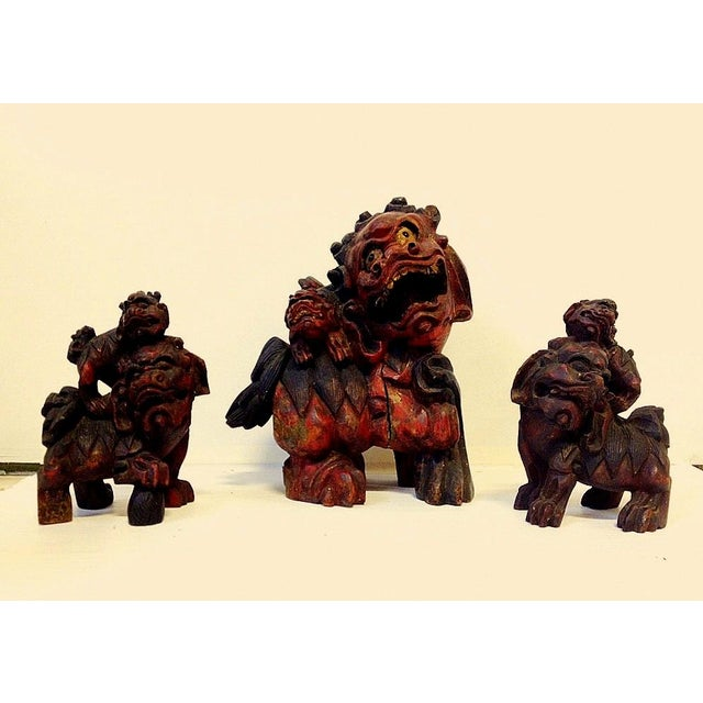 19th Century Chinese Carved Foo Dogs - 3 - Image 2 of 9