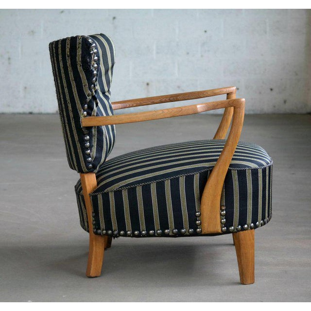 Gold Otto Schulz Style Lounge Chair in Oak with Brass Tacks Danish Mid-Century For Sale - Image 8 of 11