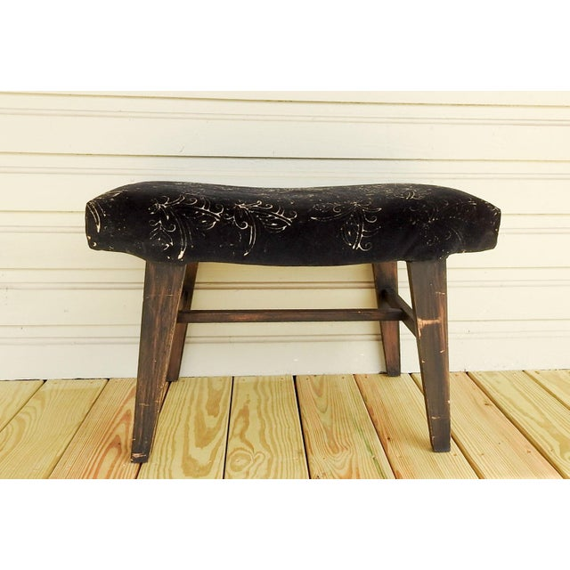 Mid century modern bench or stool, black stained legs, velvet upholstery. Design in velvet is hand discharged stamped...