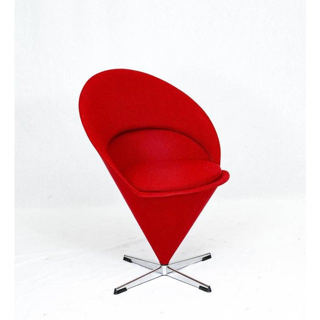 "Verner Panton ""Cone"" chair designed in 1958 and produced by Plus-Linje. NOTE: We have more if you want to make a set."