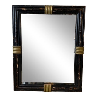 Tessellated Horn Mirror With Brass Detail For Sale