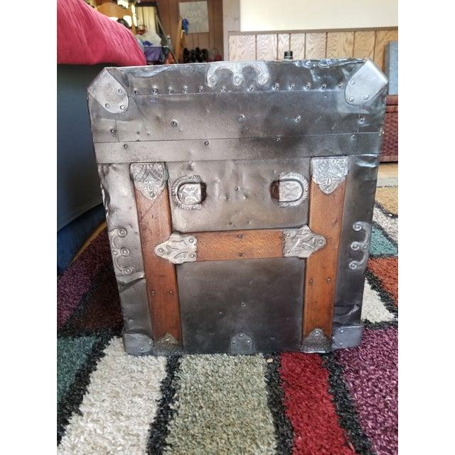 Antique Beveled Top, Wood Slatted Metal Trunk - Image 5 of 8