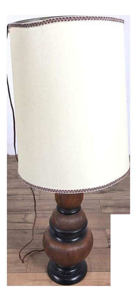 Vintage Wood Table Lamp White Shade Chairish