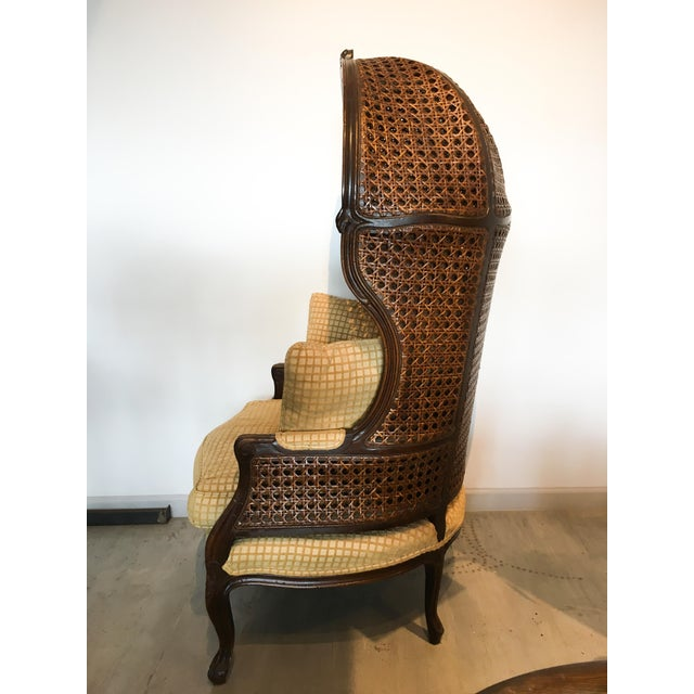 1960s Mariano Garcia Cane Hooded Porter's Chair For Sale - Image 5 of 11