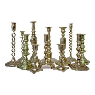 Brass Mismatched Candlesticks, Set of 12 For Sale