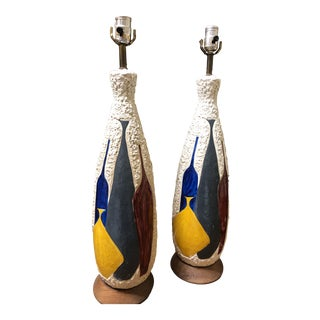 Vase Motif Blue and Yellow Bitossi Style Tall Lamps - a Pair For Sale