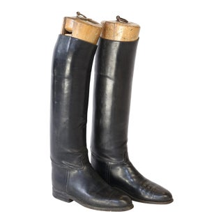 Pair of Vintage Leather Riding Boots with Wooden Stretchers