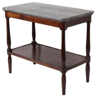 19th Century Vintage French Marble Top Tiered Server Table For Sale