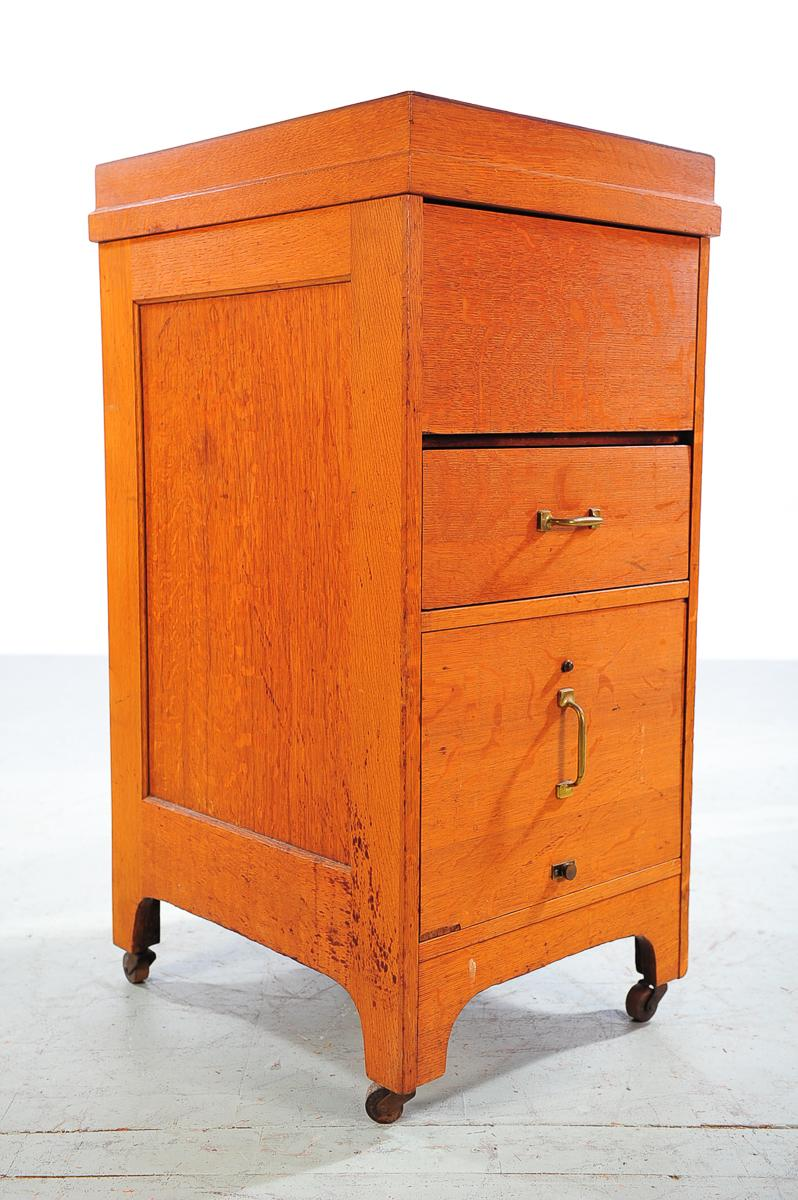 1930s Vintage Oak File Cabinet  2 Drawer   Image 2 Of 9
