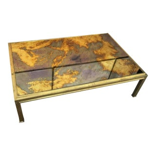 Jacques Adnet Sturdy Gold Bronze Big Coffee Table With a Gold Leaf Mirrored Top