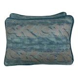 Image of Blue & Silver Fortuny Accent Pillows - a Pair For Sale
