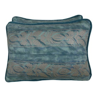 Blue & Silver Fortuny Accent Pillows - a Pair For Sale