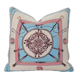 Blue Equestrian Silk Pillow For Sale