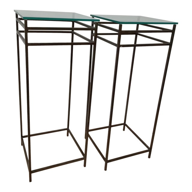 Modern Contemporary Metal Plant Stands - a Pair For Sale