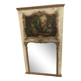 19th Century French Louis XV Painted & Gilded Trumeau Mirror For Sale