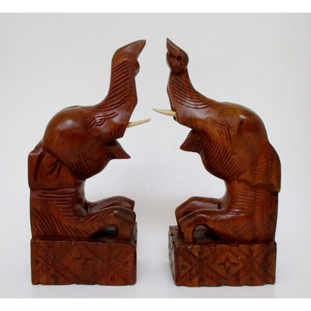 Carved Wood Elephant Bookends - A Pair - Image 5 of 6