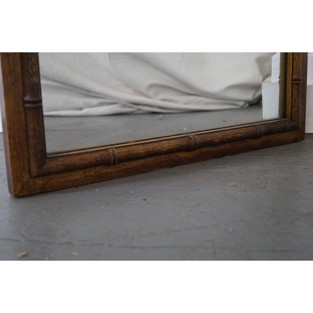 Vintage Walnut Faux Bamboo Frame Wall Mirror - Image 7 of 10