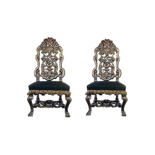 Late 19th Century Vintage English Charles II Style Silver Leafed Chairs- a Pair For Sale