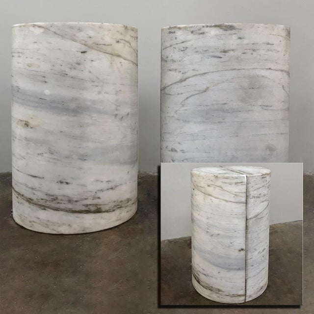 Pair Antique Solid Marble Half-Columns ~ Pedestals are ideal for mounting a piece of glass or other material on top to...