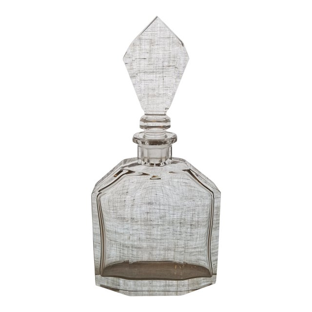 Vintage Geometric Crystal Decanter & Stopper - Image 1 of 8