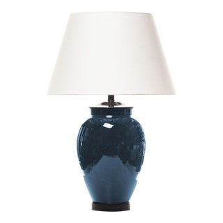 Lawrence & Scott Porcelain Table Lamp With Textured Ocean Blue Glaze For Sale