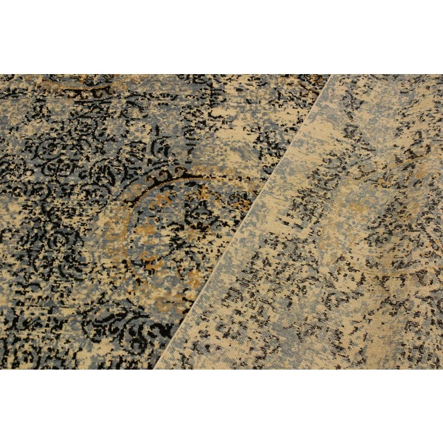 Abstract Modern Elena Ivory/Blue Wool Rug - 8'0 X 10'3 For Sale In New York - Image 6 of 8
