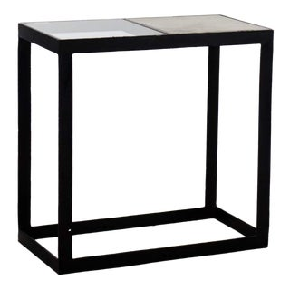 1980s Modern Glass and Marble Top Rectangular Iron Side Table For Sale