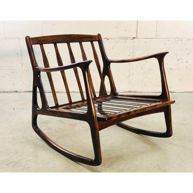 Vintage Italian Beech Wood Rocking Chair For Sale - Image 13 of 13