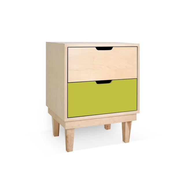 Modern Nico & Yeye Kabano Modern Kids 2-Drawer Nightstand Solid Maple and Maple Veneers Green For Sale - Image 3 of 4