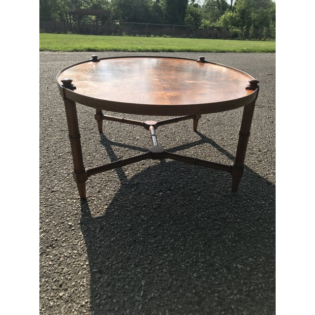 Mid 20th Century Oval Walnut Coffee Table For Sale - Image 5 of 9