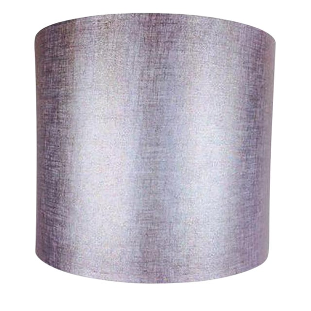 Silver metallic drum lamp shade chairish silver metallic drum lamp shade aloadofball Gallery