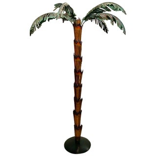 Extraordinary Midcentury Forged Copper Palm Tree Floor Lamp For Sale