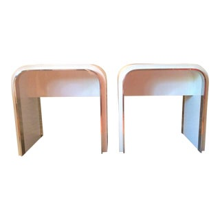 Mid Century Modern Waterfall Edge Open End Side Tables - a Pair For Sale