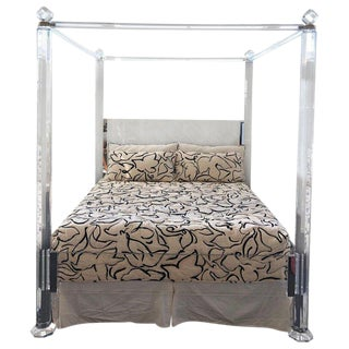 Clear Lucite and Brass King Size Canopy Bed For Sale