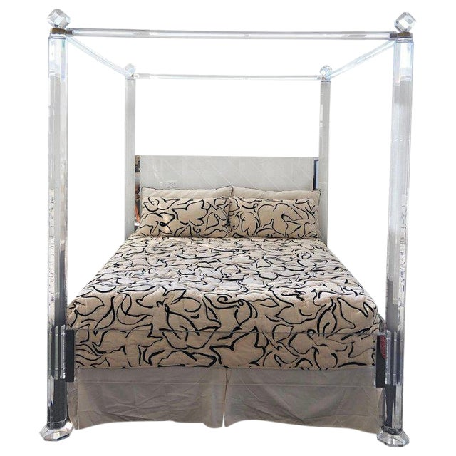 8ab68b74cd34 Sophisticated Clear Lucite and Brass King Size Canopy Bed
