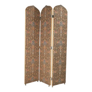 Three-Panel Tapestry Folding Screen For Sale