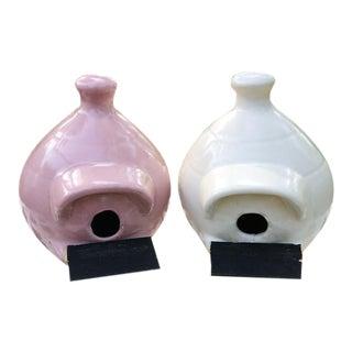 Mid Century Ceramic Birdhouses - a Pair For Sale
