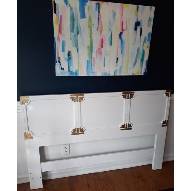 Chinoiserie Campaign Lacquered Henredon Full/Queen Headboard For Sale - Image 6 of 8