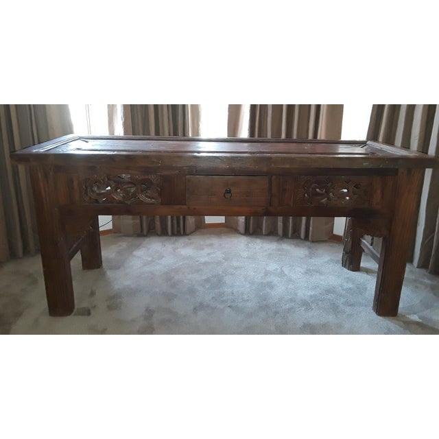 Gold Vintage Carved Teak Console Table For Sale - Image 8 of 8