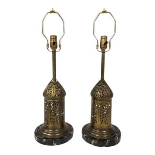 Hand Hammered Brass Table Lamps With a Faux Finished Marble Base - a Pair For Sale