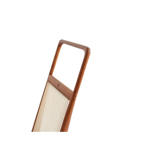 Mid-Century Modern Allen Ditson One Off Walnut and Cord Magazine Holder For Sale - Image 3 of 8