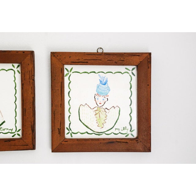 Villeroy & Boch Mid Century Villeroy & Boch Hand Painted Ceramic Framed Wall Tiles - A Pair For Sale - Image 4 of 6