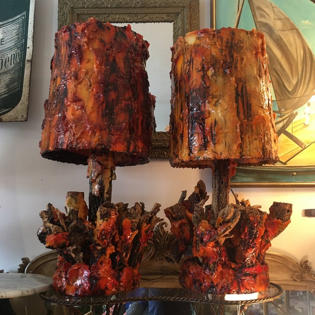 Vintage Waxed Cholla Wood Lamps - A Pair - Image 9 of 11