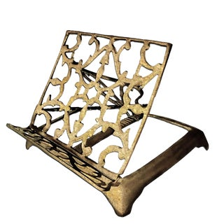 Vintage Brass Victorian Art Nouveau Style Reclining Book Holder Easel For Sale
