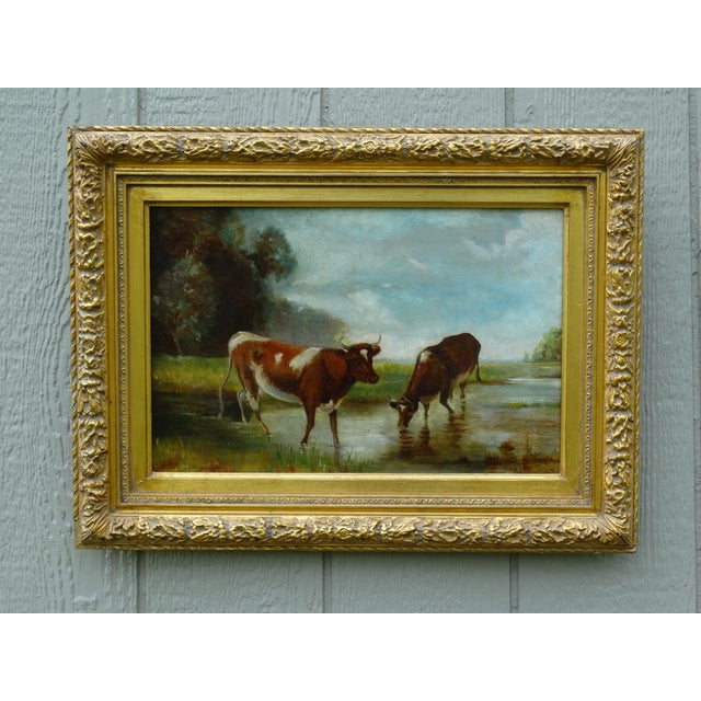 Antique Continental School Cattle Oil Painting For Sale - Image 9 of 9