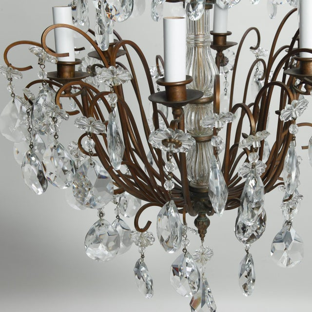Italian Three Tier Crystal Chandelier with Dark Metal Frame For Sale - Image 4 of 6