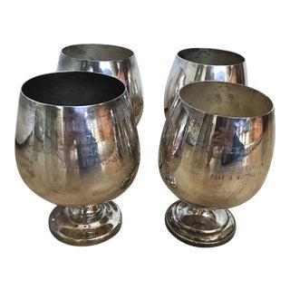 Vintage Golf Trophy Sliver Wine Goblets - Set of 4 For Sale
