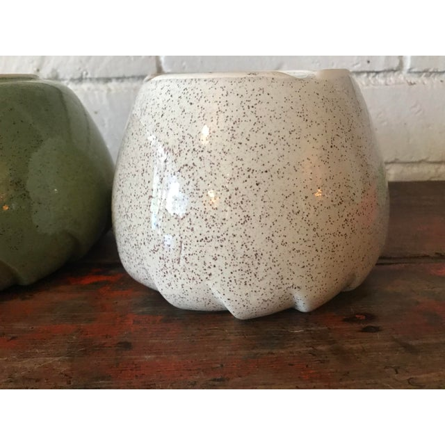1960s Vintage Speckled Green & White Pottery Planters - a Pair For Sale - Image 5 of 11