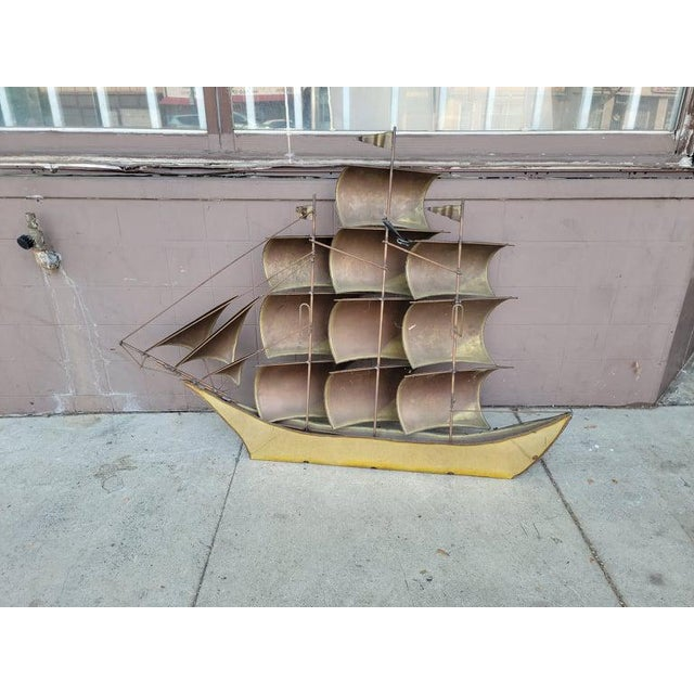 Mid-Century Modern 1970s Vintage Brass Ship Sculpture For Sale - Image 3 of 13